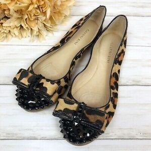 Gianni Bini Leopard Print Calf Hair Spiked Flats